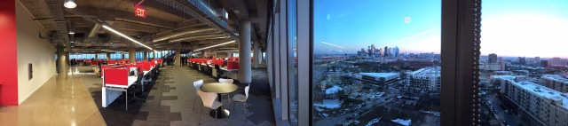Panoramic view of new seating arrangement and Downtown view